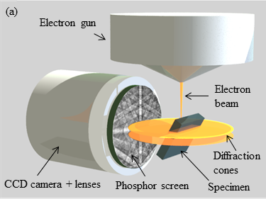 Figure 1: Illustration of the EBSD detection geometry and a conventional EBSD detector.